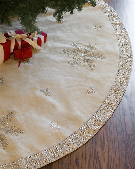 jute snowflake tree skirt balsam hill christmas