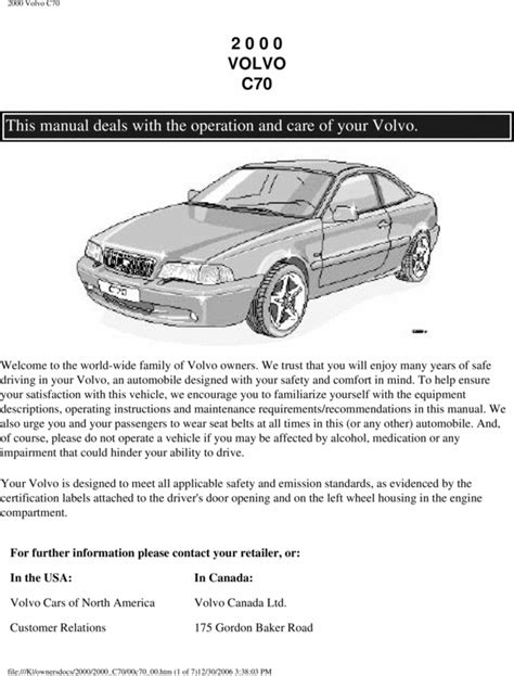 00 volvo c70 2000 owners manual download manuals technical