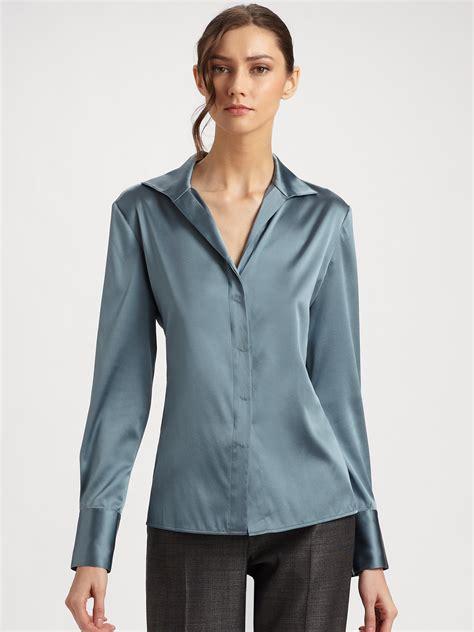 Blouse Owl Blue 1 lyst armani silk charmeuse blouse in blue