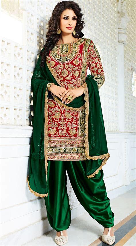 punjabi dress punjabi dress products punjabi dress tattoo design red silk punjabi bridal suit with green dupatta bp900131