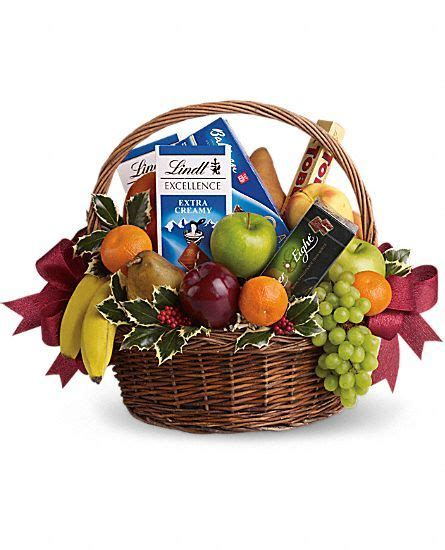 fruits and sweets christmas basket gift of chocolates
