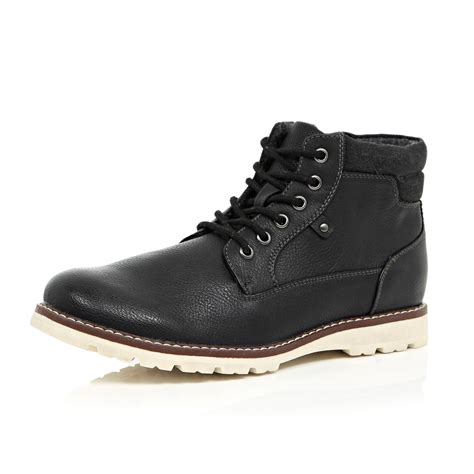 river island boots river island black cleated sole hiker boots in black for