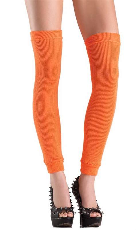 Acrylic Knit Thigh High Leg Warmers Retro Costume 80s Neon
