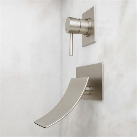 bathtub mounting clips signature hardware reston wall mount waterfall tub faucet