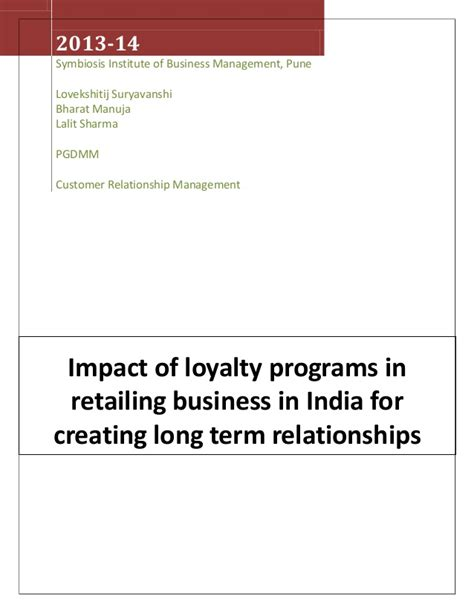 Term Mba Courses In India impact of loyalty programs in retailing business in india