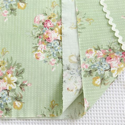 shabby chic fabric 1 yard 1 yard of floral flower green 100 cotton fabric shabby chic cottage mbl002 ebay