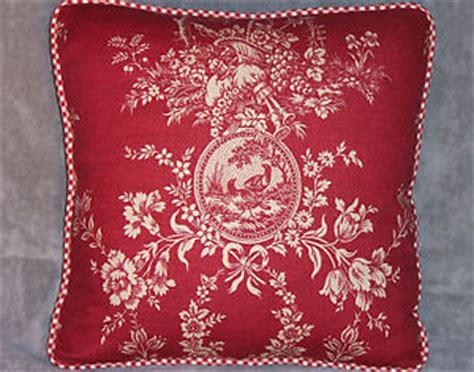 waverly country house toile throw pillow in red ebay
