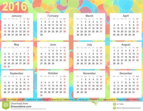 printable calendar usa 2016 calendar 2016 background colorful circles usa stock