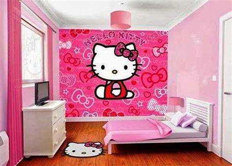 desain wallpaper kamar  kitty sederhana anak