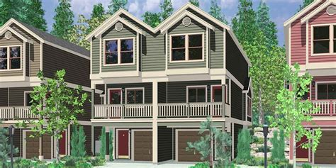 Townhouse Plans Narrow Lot by Hillside Home Plans With Basement Sloping Lot House Plans