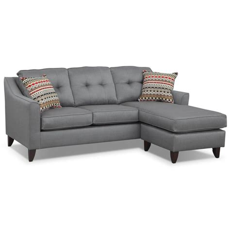 sectional sofas with chaise lounge l shape gray fabric sofa with seat combined with low arm rest and tribal pattern cushions