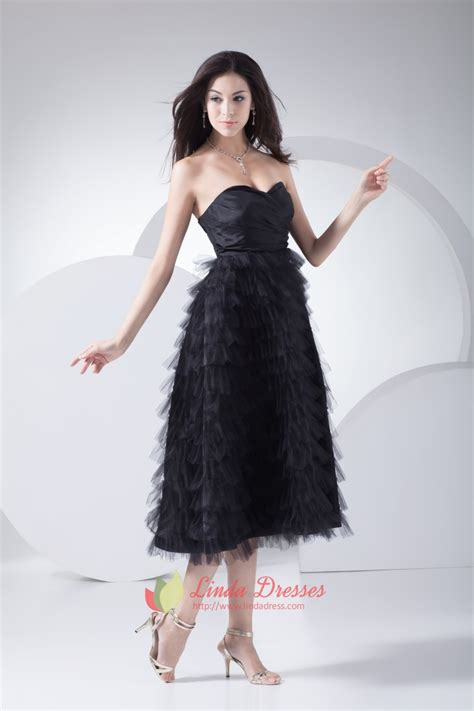 tea length cocktail dresses homecoming tiered ruffle cocktail dresses black tea length
