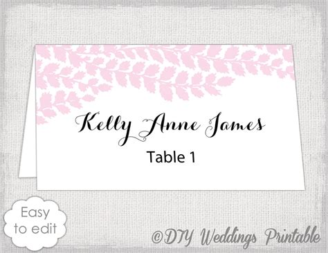 diy wedding place card templates place card template pale pink diy wedding name cards