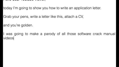 how to write an application letter part i introduction