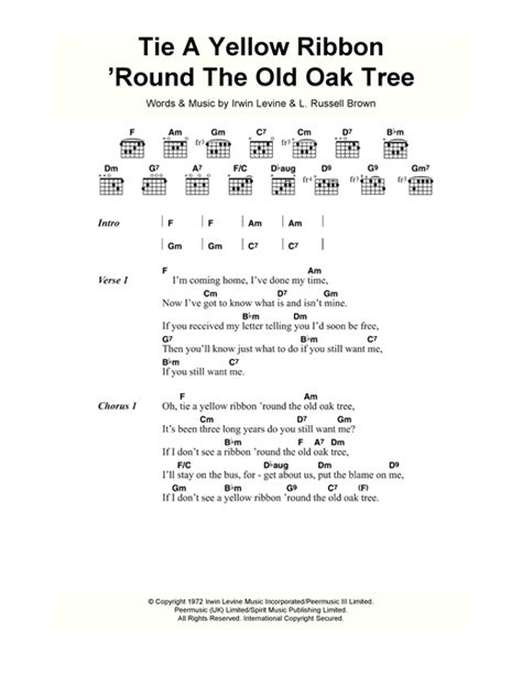 tie a yellow ribbon round the old oak tree sheet music by