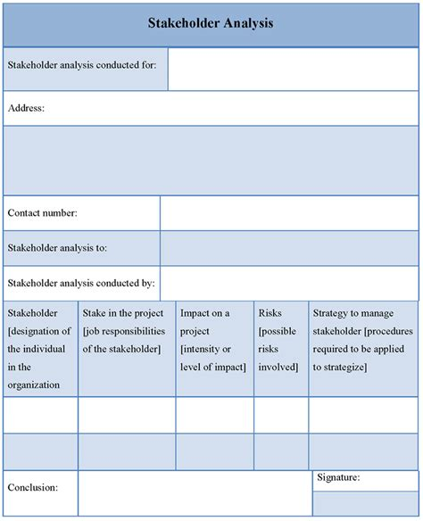 stakeholder document template analysis template for stakeholder format of stakeholder