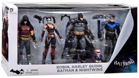 batman figure 4 pack arkham city batman nightwing harley quinn robin