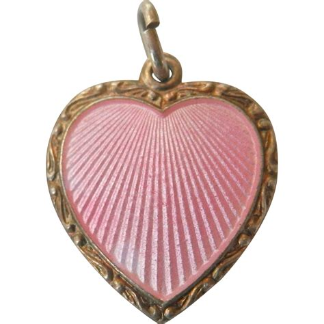 Silver Charm With Pink Enamel P 1179 lovely pink enamel silver pendant or charm opro from bird on a wire antiques on