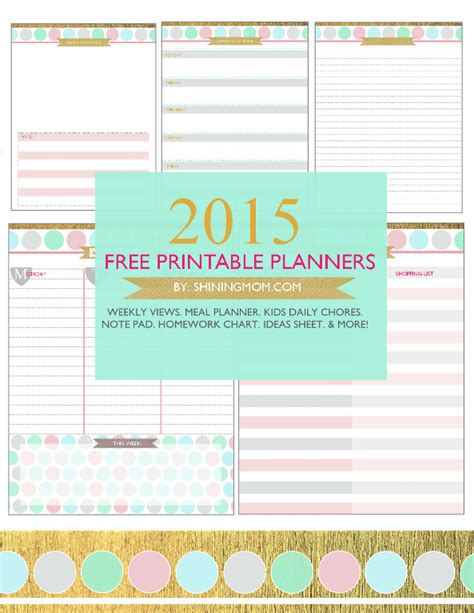printable planner set your free printable 2015 planner