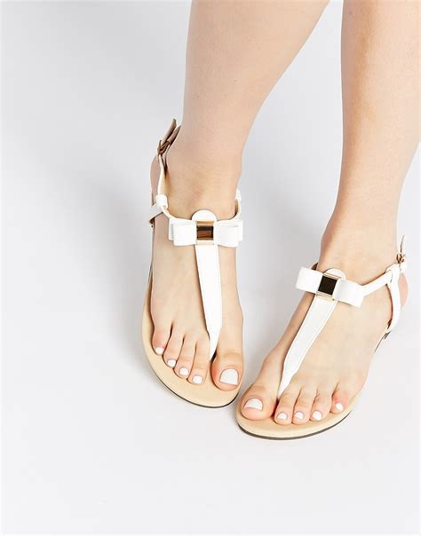white bow sandals oasis oasis white bow toe post flat sandals at asos