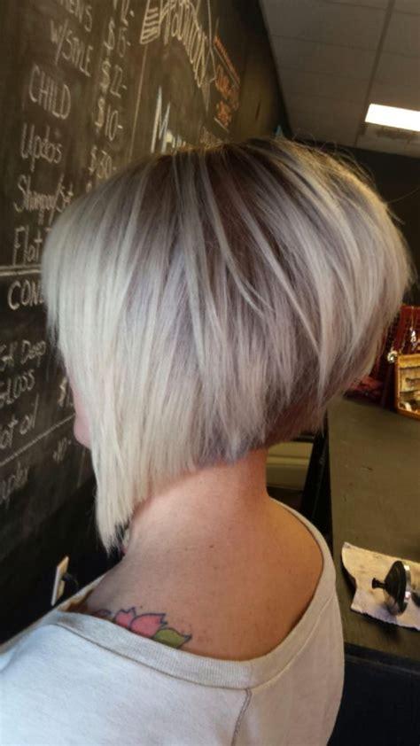 cutting stacked bob asymmetrical haircut short razored cut angled bob hair