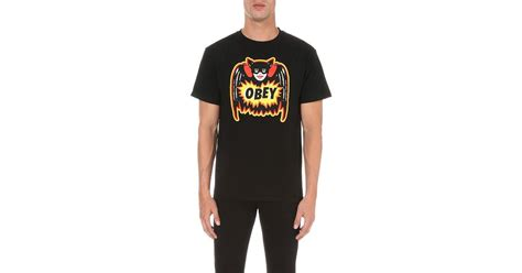 Pulp Comic Snapback Black Obey lyst obey pulp comic cotton jersey t shirt in black for