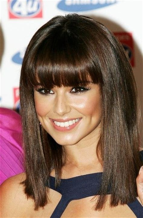 medium straight hairstyles with bangs cheryl cole medium straight cut with bangs one length