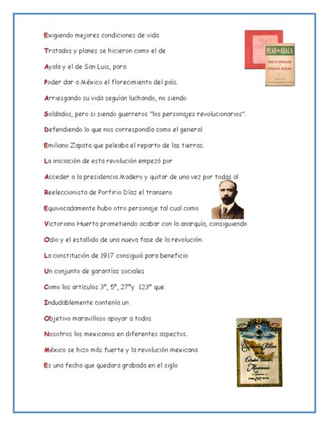 acrostico para doctor zapata acrostico de la revolucion mexicana