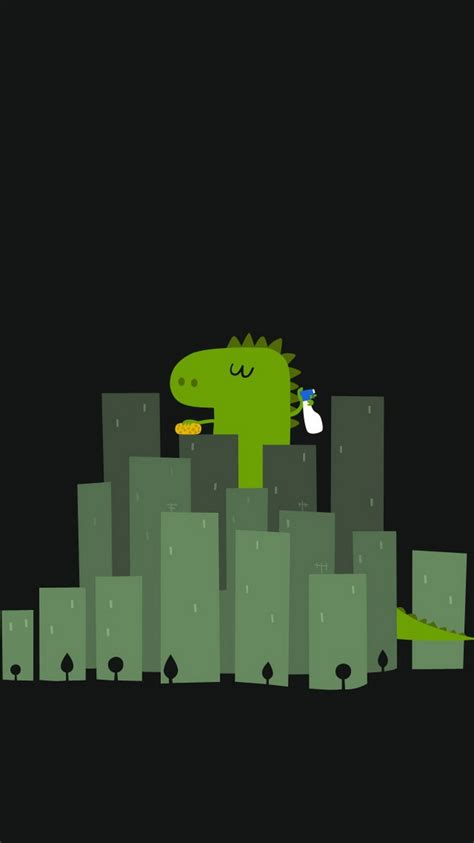 funny dinosaur cleaning buildings iphone  wallpaper hd