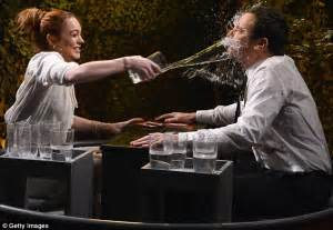 Barkin Throws A Glass Of Water In The Of Ex Husband 2 lindsay lohan looks lovely in white dress for jimmy fallon