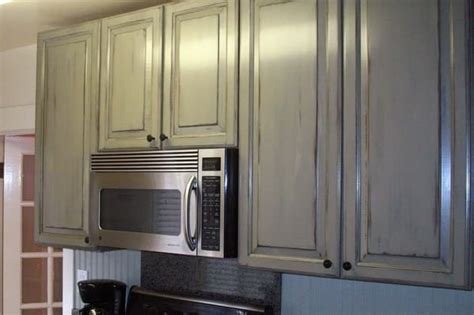 Antique Grey Kitchen Cabinets Kitchen Cabinets With Antique Paint Finish For Cottage Look Yelp