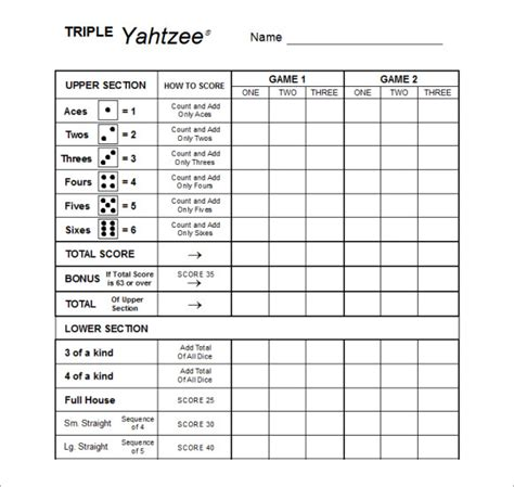 yahtzee score card template search results for yahtzee score sheets