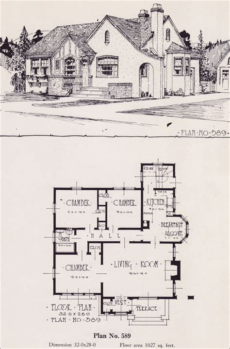tudor revival floor plans 1926 universal plan service no 589 english tudor