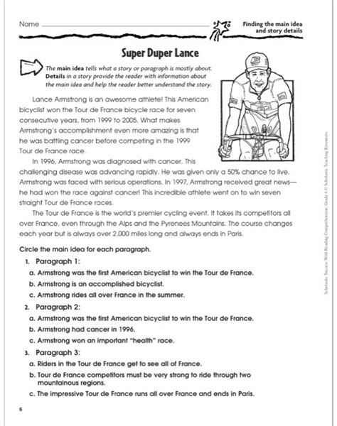 Scholastic Worksheets by Reading Comprehension Grade 4 Worksheet Ixiplay Free