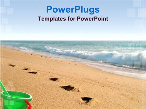 powerpoint template sea water and sandy beach with