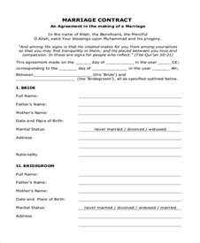 Islamic Marriage Contract Template by Sle Marriage Contract Form 8 Free Documents In Doc Pdf