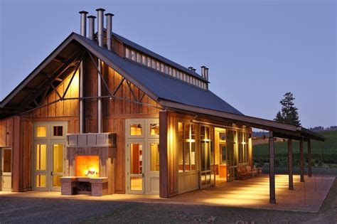 Passive Solar Home Design Concepts by Soter Vineyard Tasting Room Farmhouse Exterior