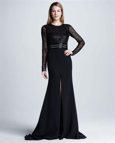 black beaded gown lyst naeem khan longsleeve beaded slit gown in black