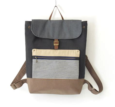 unisex navy canvas backpack laptop bag bag front zipper pocket 7 inside