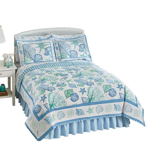 coastal collection bedding collections etc beach bliss coastal seashell quilt ebay