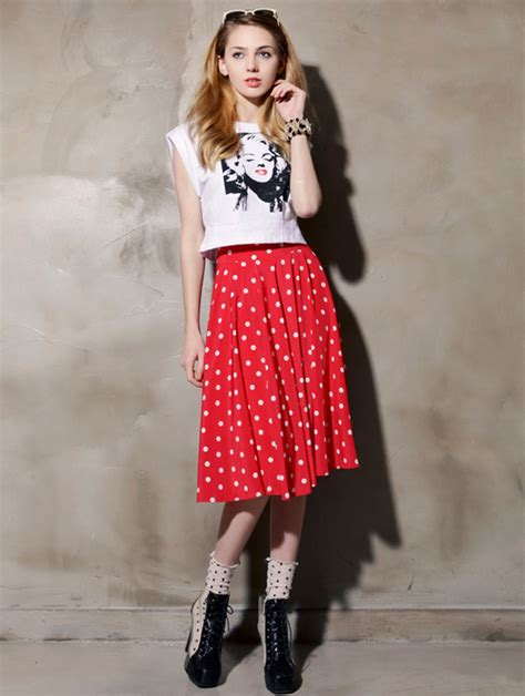 Annbaby 8 H Skirt Rok Korea storets polka dot midi skirt kstylick korean fashion k pop styles fashion