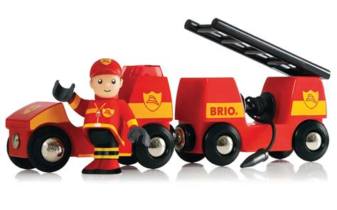 Brio Light And Sound Fire Engine Wooden Toy Gift Train