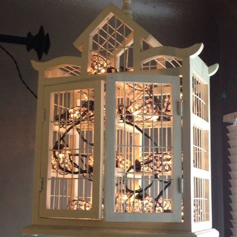 string lights inside a decorative bird cage makes a