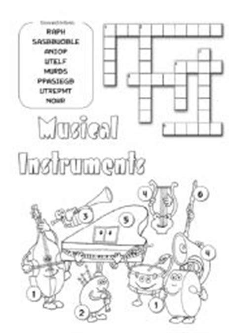 musical instruments crossword puzzle worksheet answers musical instruments worksheet by pika