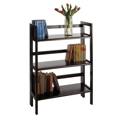 3 shelf bookcase amazon amazon com winsome wood stackable folding 3 tier shelf