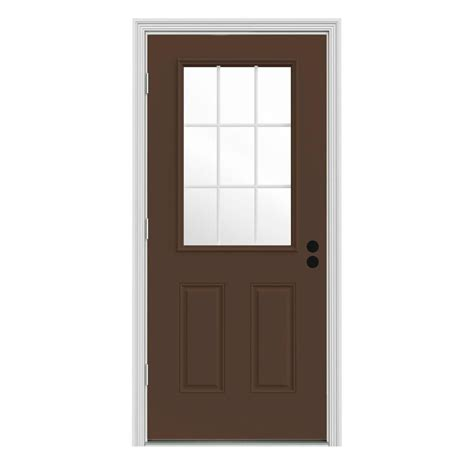 36 X 78 Exterior Door Jeld Wen 36 In X 78 In 9 Lite Primed Premium Steel Prehung Front Door With Brickmould