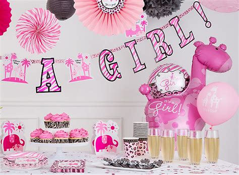 pink safari girl s baby shower ideas party city