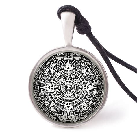 Calendar Necklace Vietguild S Mayan Calendar Necklace Pendants Pewter Silver