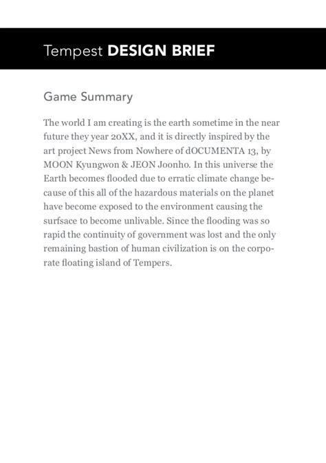 game design brief tempest design brief