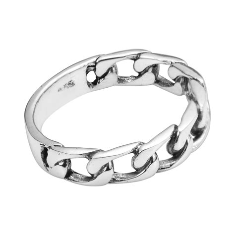 Chain Silver Ring forever bind chain link 925 sterling silver ring 6 aeravida